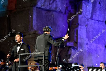 Palestinian singer Mohammed Assaf (L) perfroms on stage during the annual Baalbeck International Festival (BIF) in Baalbeck, Beqaa Valley, Lebanon, 20 July 2019. The festival runs from 05 July to 03 August 2019.
