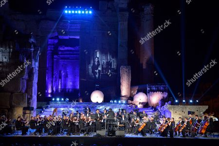 Palestinian singer Mohammed Assaf (C, left) perfroms on stage during the annual Baalbeck International Festival (BIF) in Baalbeck, Beqaa Valley, Lebanon, 20 July 2019. The festival runs from 05 July to 03 August 2019.