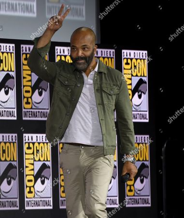 Jeffrey Wright gestures as he walks on stage at the Marvel Studios panel on day three of Comic-Con International, in San Diego