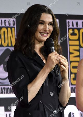 "Stock Image of Rachel Weisz speaks during the ""Black Widow"" portion of the Marvel Studios panel on day three of Comic-Con International, in San Diego"