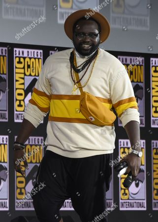 Brian Tyree Henry walks on stage at the Marvel Studios panel on day three of Comic-Con International, in San Diego