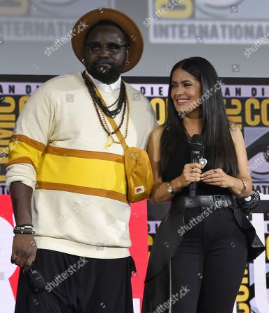 Brian Tyree Henry, Salma Hayek. Brian Tyree Henry, left, and Salma Hayek participate in the Marvel Studios panel on day three of Comic-Con International, in San Diego