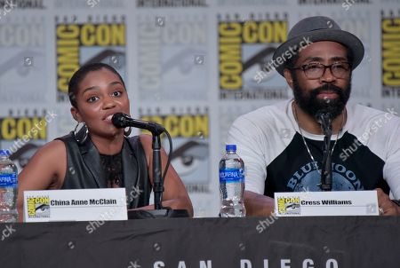 "China Anne McClain, Cress Williams. China Anne McClain, left, and Cress Williams participate in the ""Black Lightning"" panel on day three of Comic-Con International, in San Diego"