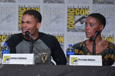 "Stock Picture of Jordan Calloway, Christine Adams. Jordan Calloway, left, and Christine Adams participate in the ""Black Lightning"" panel on day three of Comic-Con International, in San Diego"
