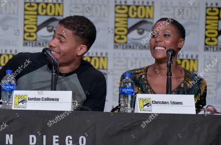 "Stock Image of Jordan Calloway, Christine Adams. Jordan Calloway, left, and Christine Adams participate in the ""Black Lightning"" panel on day three of Comic-Con International, in San Diego"