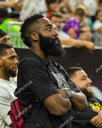 Houston Rockets James Harden watches from the side lines during the International Champions Cup between Real Madrid and Bayern Munich FC at NRG Stadium in Houston, Texas The score at the half is Bayern Munich leads 1-0 ©Maria Lysaker/CSM