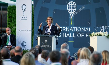 Tennis Hall of Fame inductee Mary Pierce, of France, speaks to the crowd, during ceremonies at the International Tennis Hall of Fame, in Newport, R.I