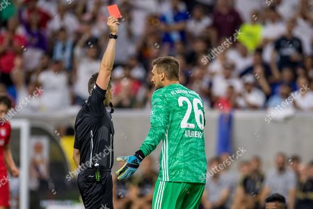 Bayern Munich goalkeeper Sven Ulreich (26) receives a red card from the referee during the second half of an International Champions Cup soccer match between FC Bayern Munich and Real Madrid at NRG Stadium in Houston, TX. FC Bayern won the game 3 to 1