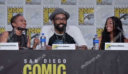"Stock Picture of China Anne McClain, Cress Williams, Nafessa Williams. China Anne McClain, from left, Cress Williams and Nafessa Williams participate in the ""Black Lightning"" panel on day three of Comic-Con International, in San Diego"