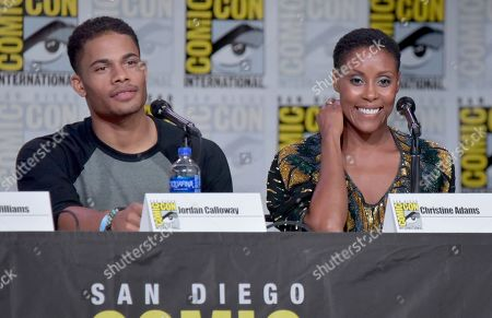 "Jordan Calloway, Christine Adams. Jordan Calloway, left, and Christine Adams participate in the ""Black Lightning"" panel on day three of Comic-Con International, in San Diego"