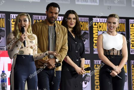 "Florence Pugh, O. T. Fagbenle, Rachel Weisz, Scarlett Johansson. Florence Pugh, from left, O. T. Fagbenle, Rachel Weisz and Scarlett Johansson participate during the ""Black Widow"" portion of the Marvel Studios panel on day three of Comic-Con International, in San Diego"