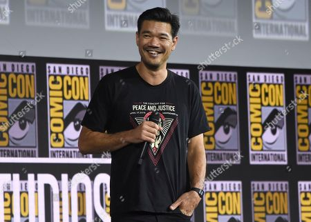"""Destin Daniel Cretton speaks during the """"Shang-Chi and The Legend of the Ten Rings"""" portion of the Marvel Studios panel on day three of Comic-Con International, in San Diego"""