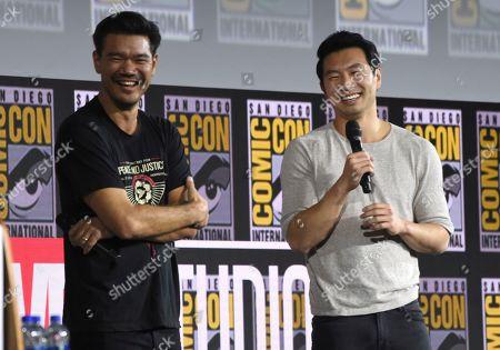 "Simu Liu, Destin Daniel Cretton. Destin Daniel Cretton, left, and Simu Liu speaks during the ""Shang-Chi and The Legend of the Ten Rings"" portion of the Marvel Studios panel on day three of Comic-Con International, in San Diego"