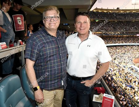Drew Carey, Terry Virts. Drew Carey, left, and NASA astronaut Terry Virts celebrate the 50th anniversary of the moon landing at Dodger Stadium with Budweiser Discovery Reserve, a beer brewed in honor of the Apollo mission, in Los Angeles