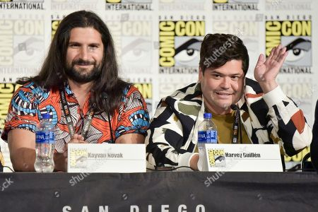 """Kayvan Novak, Harvey Guillen. Kayvan Novak, left, and Harvey Guillen participate in the """"What We Do in the Shadows"""" panel on day three of Comic-Con International, in San Diego"""