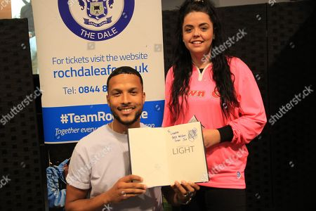 Stock Image of Joe Thompson Signing with supporters  during the Joe Thompson's Allstars v Joe Thompson's Celebrity 11 in Rochdale at the Crown Oil Arena, Rochdale