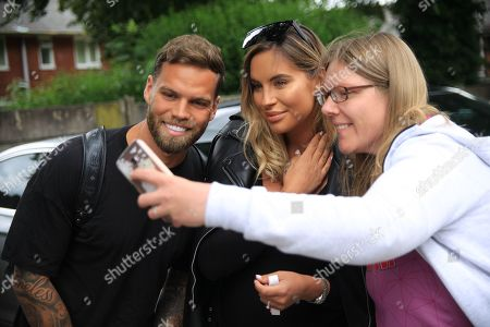 Dom Lever and Jess Shears Love Island with fans during the Joe Thompson's Allstars v Joe Thompson's Celebrity 11 in Rochdale at the Crown Oil Arena, Rochdale