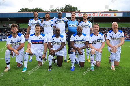 Stock Photo of Mark Wright, Joleon Lescott,  Frank Sinclair, Dom Lever, Joshua Ritchie, team shot during the Joe Thompson's Allstars v Joe Thompson's Celebrity 11 in Rochdale at the Crown Oil Arena, Rochdale