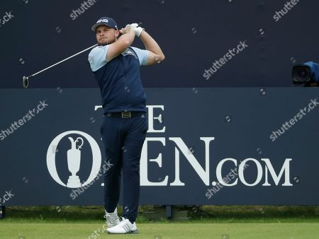 England's Tyrrell Hatton hits his tee shot from the 1st during the final round of the British Open Golf Championships at Royal Portrush in Northern Ireland