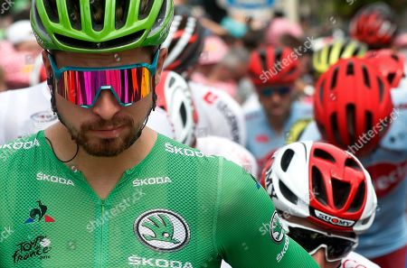 Slovakia's Peter Sagan wearing the best sprinter's green jersey attends the start of the fifteenth stage of the Tour de France cycling race over 185 kilometers (114,95 miles) with start in Limoux and finish in Prat d'Albis, France