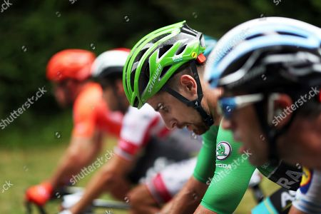 Slovakia's Peter Sagan wearing the best sprinter's green jersey, center, rides during the fifteenth stage of the Tour de France cycling race over 185 kilometers (114,95 miles) with start in Limoux and finish in Prat d'Albis, France