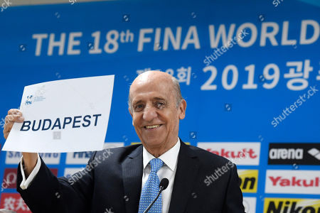 President of the International Swimming Federation (FINA) Julio Cesar Maglione announces Budapest as the tender-winning host city for the 2027 FINA World Championship during the 18th FINA World Championship in Gwangju, South Korea, 21 July 2019.