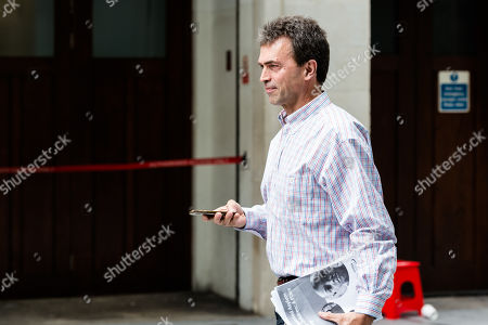 Liberal Democrat MP Tom Brake leaves the BBC Broadcasting House in central London.