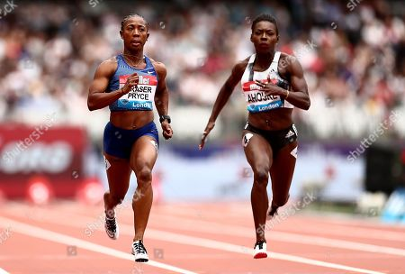 Shelly-Ann Fraser Pryce of Jamaica of her way to winning her 100m heat.