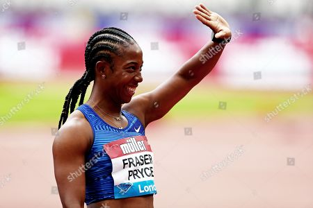 Shelly-Ann Fraser Pryce of Jamaica after winning the Womens 100m Final.