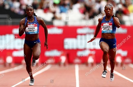 Shelly-Ann Fraser Pryce of Jamaica and Dina Asher-Smith of Great Britain during the Womens 100m Final.