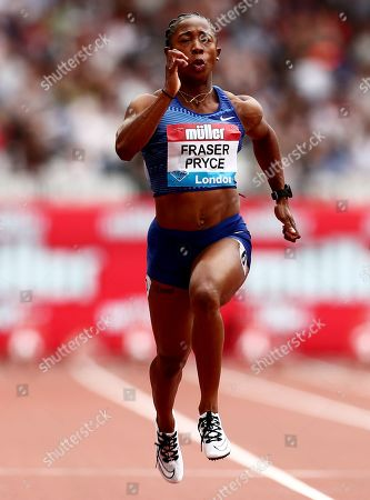 Shelly-Ann Fraser Pryce of Jamaica of her way to winning the Womens 100m Final.