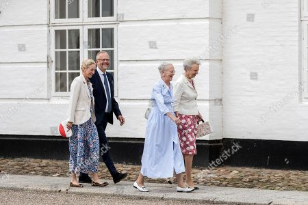 Queen Margrethe II of Denmark (2-R) and Princess Benedikte (R), followed by Princess Alexandra (2-L) and her husband Count Michael Ahlefeldt-Laurvig-Bille (2-L), attend a service at Graasten Castle Church, in Graasten, Denmark, 21 July 2019. The Danish monarch has embroidered a new chasuble for the Graasten Palace Church that was used for the first time on 21 July.