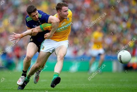 Mayo vs Meath. Mayo's Lee Keegan and Barry Dardis of Meath