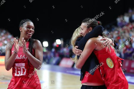 England Head coach Tracey Neville hugs Geva Mentor