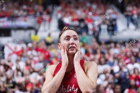 Jade Clarke of England in tears at the end of the match