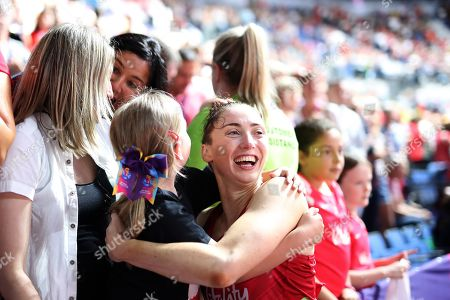 Jade Clarke of England gets a hug from the crowd