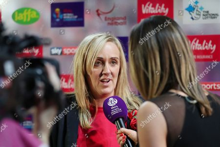 England Head coach Tracey Neville is interviewed on SKY Sports