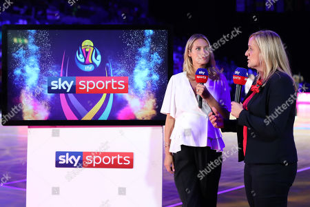 England head coach Tracey Neville is interview on SKY Sports poses for a selfie with an England fan