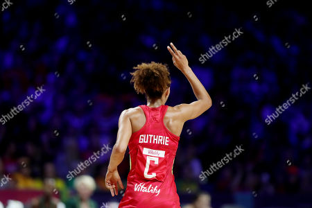 Serena Guthrie of England holds up two fingers