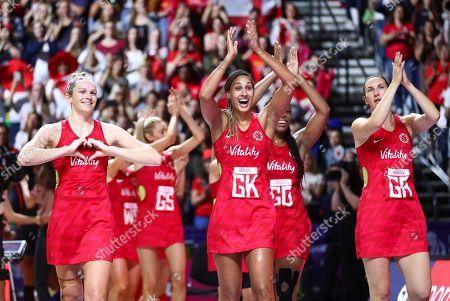 Joanne Harten, Geva Mentor and Rachel Dunn of England celebrate the win.