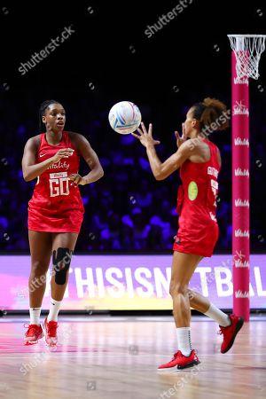 Eboni Usoro-Brown and Serena Guthrie of England.