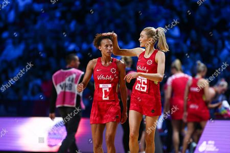 Serena Guthrie and Helen Housby of England.