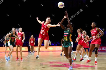 Jade Clarke of England and Bongiwe Msomi of South Africa.