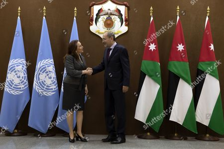 President of United Nation General Assembly Maria Fernanda Espinosa Garces (L) shakes hands with the Jordanian Foreign Minister Ayman Safadi at the Foreign Ministry in Amman, Jordan, 21 July 2019. Espinosa Garces started on 21 July an official four-day visit to Jordan during which she is due to meet with senior officials and visit some of the UN projects in the country.