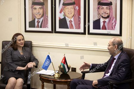President of United Nation General Assembly Maria Fernanda Espinosa Garces (L) meets with the Jordanian Foreign Minister Ayman Safadi at the Foreign Ministry in Amman, Jordan, 21 July 2019. Espinosa Garces started on 21 July an official four-day visit to Jordan during which she is due to meet with senior officials and visit some of the UN projects in the country.