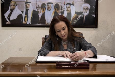 President of United Nation General Assembly Maria Fernanda Espinosa Garces signs the guest book at the Foreign Ministry in Amman, Jordan, 21 July 2019. Espinosa Garces started on 21 July an official four-day visit to Jordan during which she is due to meet with senior officials and visit some of the UN projects in the country.