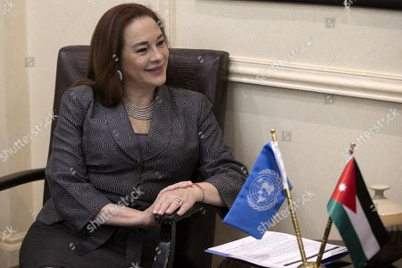 President of United Nation General Assembly Maria Fernanda Espinosa Garces smiles during a meeting with the Jordanian Foreign Minister Ayman Safadi, at the Foreign Ministry in Amman, Jordan, 21 July 2019. Espinosa Garces started on 21 July an official four-day visit to Jordan during which she is due to meet with senior officials and visit some of the UN projects in the country.