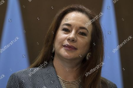 President of United Nation General Assembly Maria Fernanda Espinosa Garces delivers a short statement at the Foreign Ministry in Amman, Jordan, 21 July 2019.  Espinosa Garces started on 21 July an official four-day visit to Jordan during which she is due to meet with senior officials and visit some of the UN projects in the country.