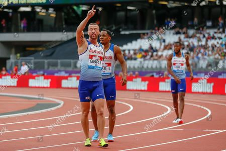 Stock Photo of Richard Kilty, Great Britain, after his team's first place finish in the Men's 100m Relay, during the Muller Anniversary Games 2019 at the London Stadium, London