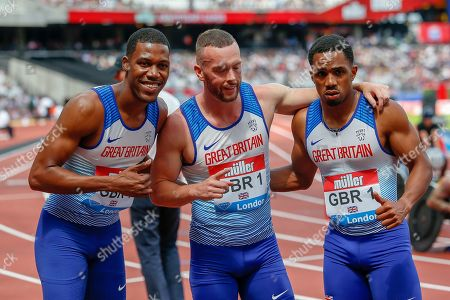 Zharnel Hughes, Richard Kilty, Chijindu Ujah of Great Britain, after their first place finish in the Men's 100m Relay, during the Muller Anniversary Games 2019 at the London Stadium, London